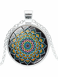 cheap -Women's Pendant Necklace Handmade Kaleidoscope Vintage Colorful Glass Alloy Black Bronze Silver 51-80 cm Necklace Jewelry For Gift Festival