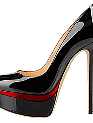 cheap -Women's Heels Platform Round Toe Daily PU Solid Colored Black / Red Almond Black