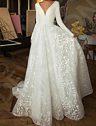 cheap -A-Line Wedding Dresses V Neck Sweep / Brush Train Lace Satin Long Sleeve Simple Backless with 2020