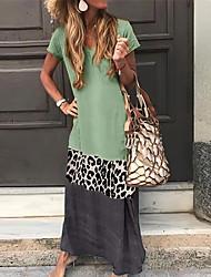 cheap -Women's Shift Dress Maxi long Dress - Short Sleeves Leopard Color Block Summer V Neck Casual Vacation Holiday 2020 Black Orange Green Gray S M L XL XXL XXXL XXXXL XXXXXL