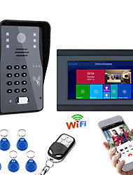 cheap -7inch Wired / Wireless Wifi RFID Password Video Door Phone Doorbell Intercom Entry System With IR-CUT 1000TVL Wired Camera Night VisionSupport Remote APP UnlockingRecordingSnapshot