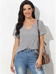 cheap -Women's Blouse Striped Tops V Neck Daily Summer Black XS S M L