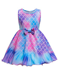 cheap -Kids Toddler Little Girls' Dress The Little Mermaid Cartoon Geometric Bow Purple Knee-length Sleeveless Cute Sweet Dresses Children's Day Slim