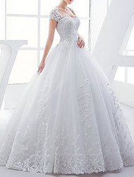 cheap -Ball Gown Wedding Dresses V Neck Floor Length Lace Tulle Short Sleeve Formal with Beading Appliques 2020