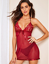 cheap -Women's Lace Backless Bow Babydoll & Slips Suits Nightwear Jacquard Solid Colored Embroidered Wine / Black S M L