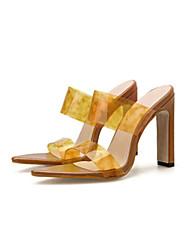 رخيصةأون -نسائي صنادل الصيف Pumps حذاء براس مدبب مناسب للبس اليومي تمويه PU أسود / أصفر