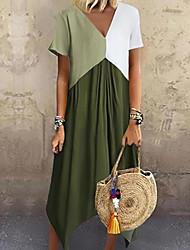 cheap -Women's Plus Size A-Line Dress Maxi long Dress - Short Sleeve Color Block Color Block Spring & Summer V Neck Casual Vacation 2020 Red Green Gray Light Blue S M L XL XXL XXXL XXXXL XXXXXL