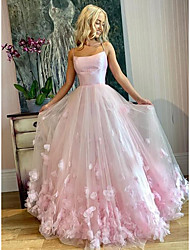 cheap -A-Line Elegant Floral Engagement Prom Valentine's Day Dress Spaghetti Strap Sleeveless Floor Length Tulle with Pleats Appliques 2021