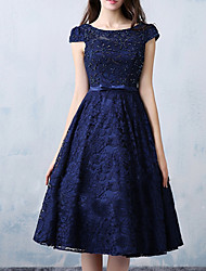 cheap -A-Line Minimalist Elegant Wedding Guest Cocktail Party Dress Jewel Neck Sleeveless Knee Length Lace with Bow(s) Beading 2021