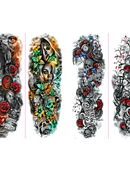 cheap -6 Sheets Randomly Full Arm Temporary Tattoo Stickers, Waterproof Temporary Tattoo,Black Body Tattoo Stickers For Women,Men,Halloween,Party,Masquerade
