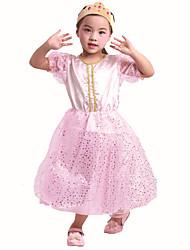 cheap -Princess Princess Peach Dress Girls' Movie Cosplay Pink Dress Halloween Children's Day Polyester Organza