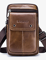 cheap -Men's Bags Cowhide Fanny Pack 4 Pieces Purse Set Zipper 2020 Daily Black Grey Black Brown Coffee