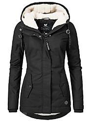 cheap -Women's Parka Solid Colored Wool Blend Polyester Black S / M / L