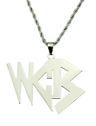 cheap -Men's Pendant Necklace Necklace Long Necklace Long Alphabet Shape Simple Classic Rustic Trendy Stainless Steel Silver 60 cm Necklace Jewelry 1pc For Anniversary Party Evening Masquerade Street