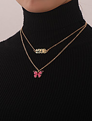 cheap -Women's Pendant Necklace Necklace Layered Necklace Stacking Stackable Number Butterfly Classic Rustic Vintage Trendy Chrome Gold Silver 52 cm Necklace Jewelry 1pc For Party Evening Prom Street Beach