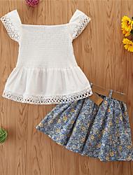 cheap -Kids Girls' Clothing Set Print Sleeveless Cotton Casual White Basic Regular Regular
