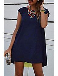 Χαμηλού Κόστους -Γυναικεία Φόρεμα ριχτό Μίνι φόρεμα - Κοντομάνικο Συνδυασμός Χρωμάτων Καλοκαίρι Καθημερινό Καθημερινά 2020 Βαθυγάλαζο M L XL XXL XXXL