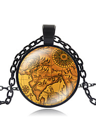 cheap -Women's Pendant Necklace Handmade Maps Vintage Steampunk Glass Alloy Black 50 cm Necklace Jewelry For Gift Formal Festival