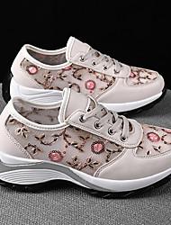 رخيصةأون -نسائي أحذية رياضية الصيف كعب مسطخ أمام الحذاء على شكل دائري كاجوال مناسب للبس اليومي مجهرية المشي اللوز / أبيض / أسود