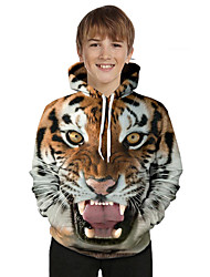 cheap -Kids Toddler Boys' Active Basic Tiger Geometric 3D Animal Print Long Sleeve Hoodie & Sweatshirt Brown