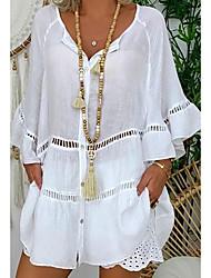 Χαμηλού Κόστους -Γυναικεία Μπλούζα Μονόχρωμο Άριστος Λαιμόκοψη V Καθημερινά Λευκό M L XL 2XL 3XL