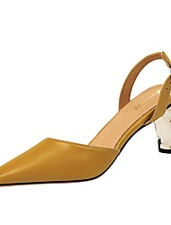 cheap -Women's Sandals Summer Pumps Pointed Toe Daily Solid Colored PU Camel / Nude / Black
