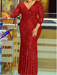 cheap -Sheath / Column Glittering Plus Size Wedding Guest Prom Dress V Neck Long Sleeve Floor Length Sequined with Sequin 2020