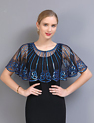 cheap -Short Sleeve Capes POLY Wedding / Party / Evening Women's Wrap With Wave-like / Pattern / Paillette