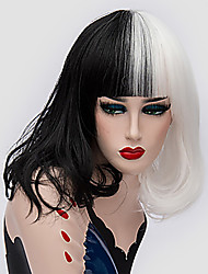 cheap -Cosplay Costume Wig Synthetic Wig Straight Neat Bang Wig Blonde Medium Length Pink / Grey Black / Blonde Black / Red Black / White Synthetic Hair 14 inch Women's Women Synthetic Blonde Mixed Color