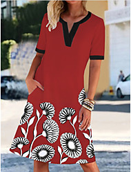 cheap -Women's Shift Dress Knee Length Dress - Short Sleeves Floral Summer Casual Daily 2020 Red M L XL XXL XXXL