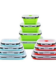 cheap -4Pcs Silicone Collapsible Lunch Box Food Storage Container Microwavable Portable Picnic Camping Rectangle Outdoor Box