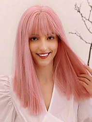 cheap -Synthetic Wig Straight Natural Straight Side Part Neat Bang With Bangs Wig Medium Length Pink Mint Green Synthetic Hair 16 inch Women's Cosplay Adorable African American Wig Pink Green BLONDE UNICORN