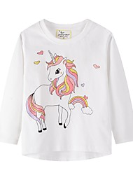 cheap -Kids Girls' Basic Horse Animal Print Long Sleeve Tee White