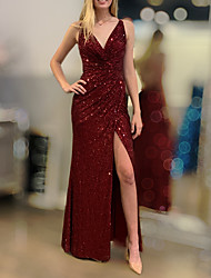 cheap -Sheath / Column Sexy Sparkle Engagement Formal Evening Dress V Neck Sleeveless Floor Length Sequined with Draping Split 2020