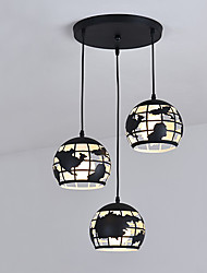 cheap -3-Light 45 cm Cluster Design Pendant Light Metal Globe Painted Finishes Nature Inspired Modern 220-240V
