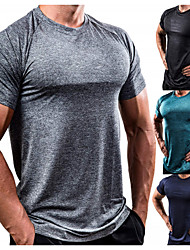 cheap -Men's Workout Tops Running Shirt Short Sleeve Breathable Soft Sweat Out Fitness Gym Workout Performance Running Training Sportswear Solid Colored Normal Tee Tshirt Top White Black Red Army Green Blue