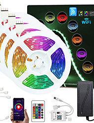 cheap -Upgraded 65.6ft (4x5M) App Intelligent Control Led Strip Lights IR 24 Key WIFI Controller 5050 RGB LED LED Soft light strip with Adapter Kit DC12V