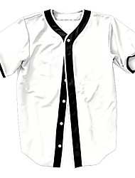 cheap -Men's Baseball Jersey Sports Fashion Polyester Top Short Sleeve Activewear Breathable Quick Dry Comfortable White
