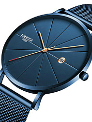 cheap -NIBOSI Men's Steel Band Watches Quartz Sporty Casual Water Resistant / Waterproof Analog White+Blue Black+Gloden Blue / Stainless Steel / Calendar / date / day