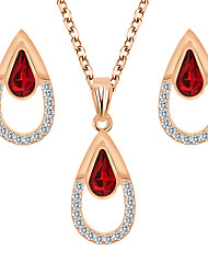 cheap -Women's Crystal Bridal Jewelry Sets Briolette Pear Elegant Trendy Earrings Jewelry Purple / Red For Party Wedding Festival 1 set