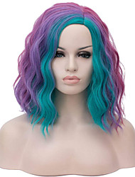 cheap -Synthetic Wig Curly Wavy Short Bob Wig Medium Length Purple / Pink / Blue Black / White Rainbow Rainbow Synthetic Hair 14 inch Women's Cosplay Creative Party Mixed Color