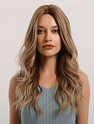 cheap -Synthetic Wig Curly Body Wave Middle Part Side Part Wig Very Long Light Brown Synthetic Hair 24 inch Women's Cosplay Women Synthetic Brown BLONDE UNICORN / African American Wig
