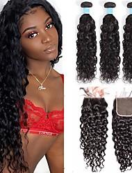 abordables -3 paquets avec fermeture Tissage de cheveux Cheveux Brésiliens Ondulation Extensions de cheveux humains Cheveux Naturel Rémy 100% faisceaux d'armure de cheveux remy 345 g Tissages de cheveux humains