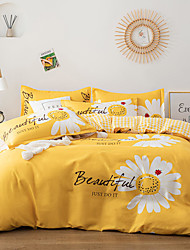 cheap -4-Pieces Bedding Set Daisy Flower Print Duvet Cover Set Ultra Soft and Easy Care, Bedding Queen Size Set