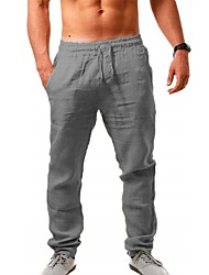 cheap -Men's Sporty Outdoor Sports Linen Slim Daily Holiday Sweatpants Pants Solid Colored Full Length Drawstring White Blue Light Brown Black Khaki / Fall / Spring