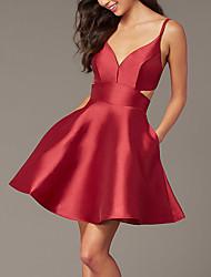cheap -A-Line Beautiful Back Flirty Homecoming Cocktail Party Valentine's Day Dress Spaghetti Strap Sleeveless Short / Mini Satin with Sleek 2021