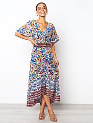 cheap -Women's Sundress Maxi long Dress - Half Sleeve Geometric Print Summer Boho Flare Cuff Sleeve 2020 White Black Blue S M L XL