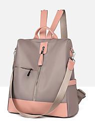 cheap -Women's Oxford Cloth School Bag Commuter Backpack Large Capacity Waterproof Zipper Color Block Daily Outdoor Backpack Wine Black Khaki Dark Gray