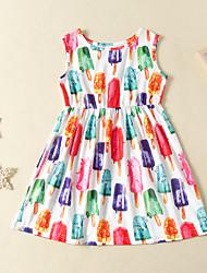cheap -Kids Toddler Girls' Flower Cute Rainbow Print Sleeveless Above Knee Dress White