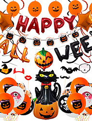 cheap -Party Balloons 66 pcs Pumpkin Spiders Bat Party Supplies Latex Balloons Banner Boys and Girls Party Decoration 10-18inch for Party Favors Supplies or Home Decoration